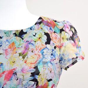 Topshop Dresses - Topshop Watercolor Floral Fit & Flare Skater Dress